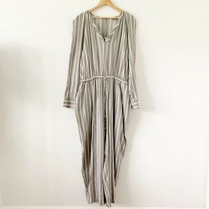 ASOS Gray White Pinstripe Long Sleeve Long Romper